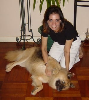 Anita Moorjani with dog.