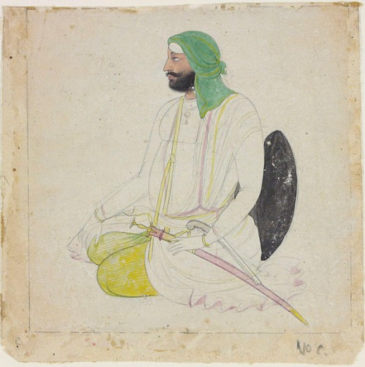 """c. 1835-45. It depicts a Sikh sardar, a title originally meaning """"chieftain"""", or """"headman"""" in Persian, but which came to be used routinely for Sikh men of a certain rank."""