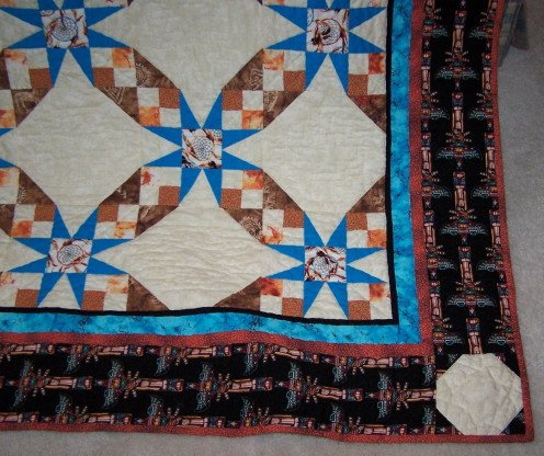 South by Southwest - Corner Detail. Here you can see in better detail the southwestern fabrics. Notice the dreamcatchers and the thunderbird boaders.