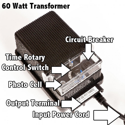 The components of the 60 watt low voltage transformer.