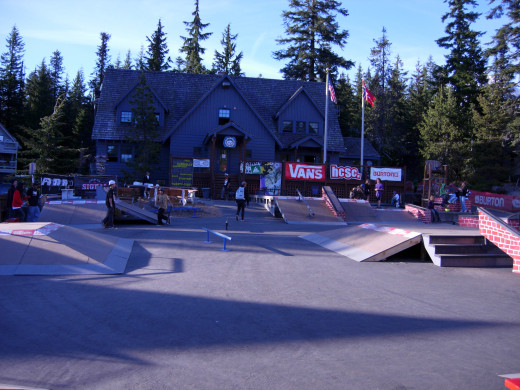 The Lodge, center of all camp activities, with the Street Course in front.