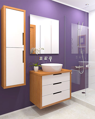 The purple used in a smaller room is doable. If you shy away from these bright colors, try using them for accents instead.