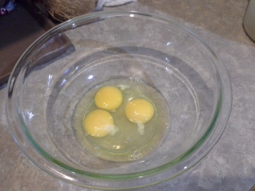 Step One: Crack three eggs