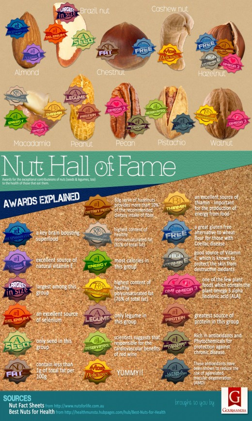 This captivating infographic illustrates the top 10 nuts and their unique and most important qualities for good health.