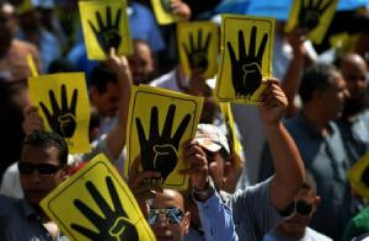 Rabaa sign, a symbol of resistance to tyranny.