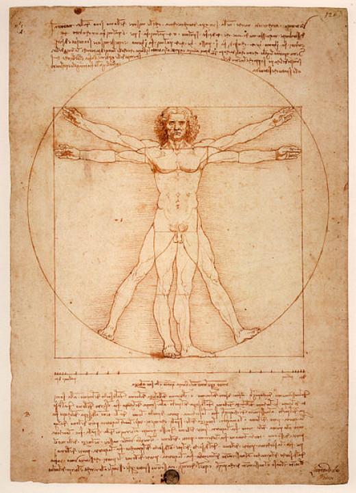 Leonardo da Vinci's Vitruvian Man, a symbol of symmetry of the human boddy.