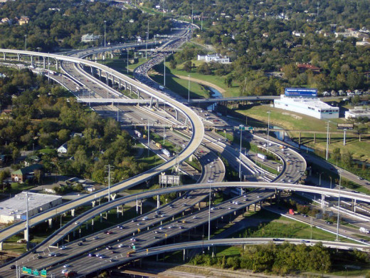 An American highway system, more accurately, the Interstate 10 and 45 in Houston.