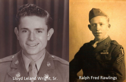 My paternal and maternal grandfathers in their military uniform.  Lloyd fought in Korea with the US Army, and Ralph fought in World War II with the US Marine Corps.