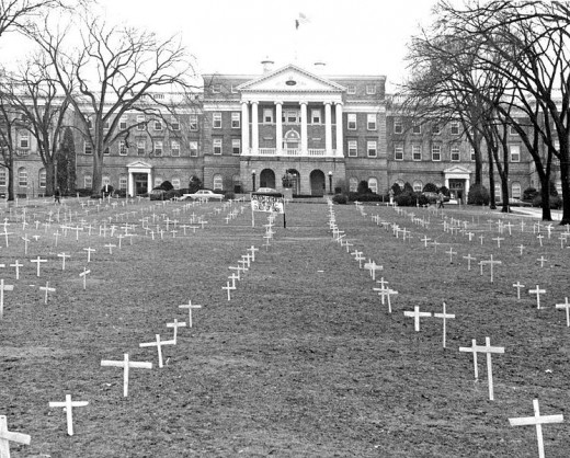 Madison, Wisonsin ~ Bascom Hill, 1968, with crosses placed by students protesting the Vietnam War