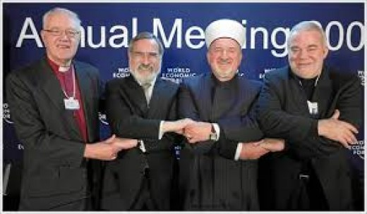 Sometimes religious leaders have meetings, where they discuss about their Gods' and their religious differences, in the hope that they would be able to agree about God; as it is believed that there is only one God for all existing religions