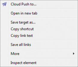 The Maxthon Cloud Browser context menu when activated over a link.