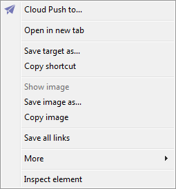 The Maxthon Cloud Browser context menu when activated over an image.