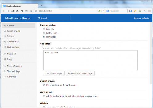 Maxthon's settings page.