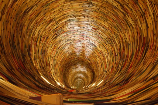 The vortex of the information. Like the books in the above image, the pages in the Internet are all equal untill they are not indexed and cataloged.