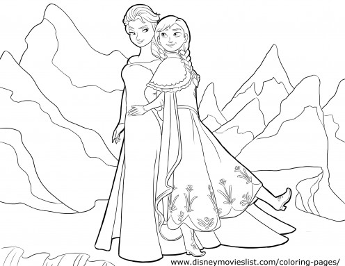 A coloring sheet of Anna And Elsa Walking through the land.