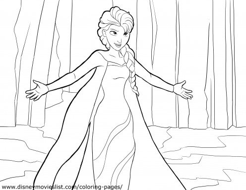 "A coloring page of Elsa singing the hit song, ""Let It Go."""