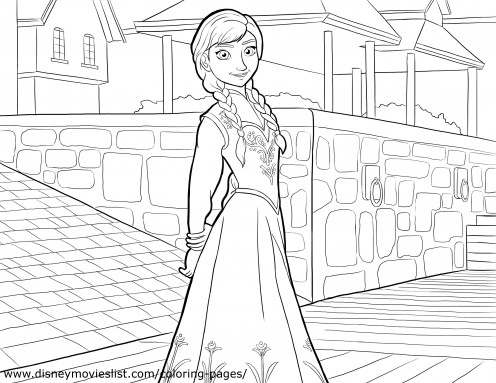 A Coloring page of Ana taking a stroll through the town.