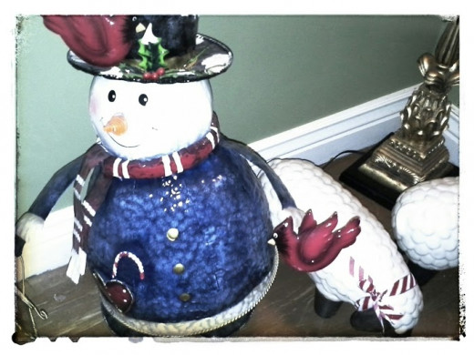 After Christmas Sale find.  Paid 75% off the original price.  I have had this snowman for four years.