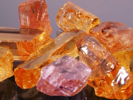 Imperial topaz is usually a red-orange color, but pink, red, and purple varieties are also common.