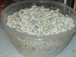 Colorful and Creamy Macaroni Salad with Shrimp