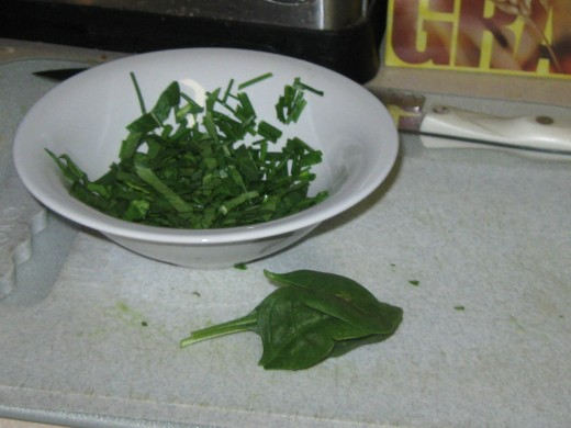 Chopped Fresh Chives and Baby Spinach Leaves