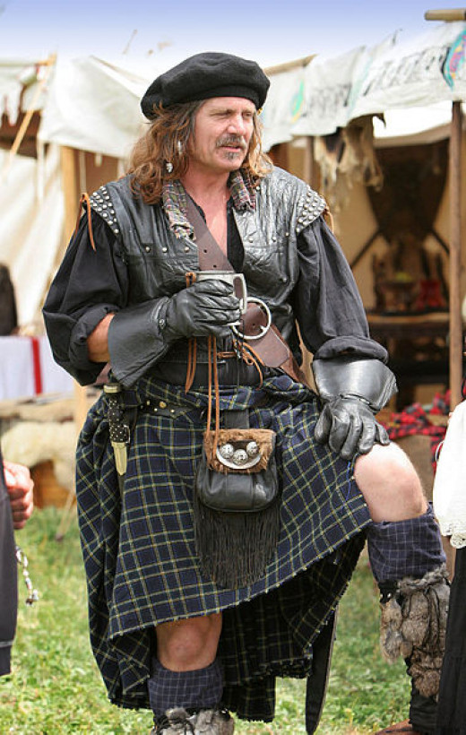 A belted plaid (rather than a kilt) as worn by a reenactor of Scottish history