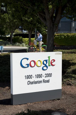 In Mountain View, California. Who is that guy? He is a Google employee on a Google bicycle. Yes he is.