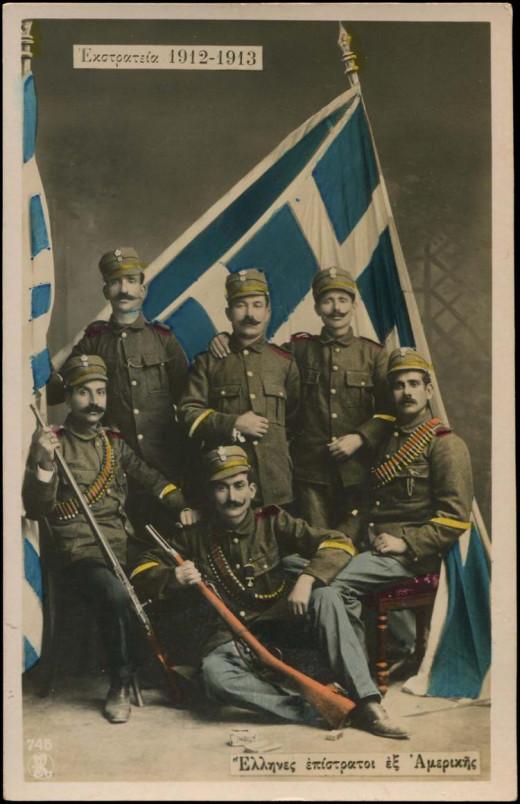 Greek-American volunteers in the Greek Army during the Balkan Wars.