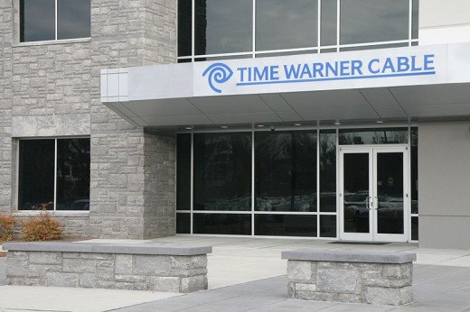 Time Warner Cable building entrance at 4200 Paramount Parkway in Morrisville, North Carolina.