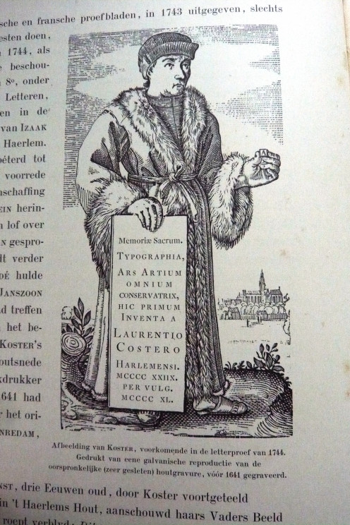 1744 reprint of a pre-1641 engraving by Joh.Enschede depicting Laurens Coster