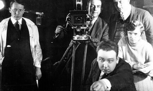 A young Alfred Hitchcock on the set of his 1926 lost film, The Mountain Eagle.