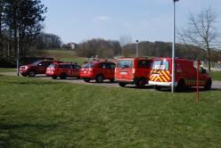 Fire trucks parked at Liège University's Sart-Tilman experimental farm