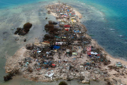 A coastal town, devastated by super Typhoon Haiyan, in Samar province