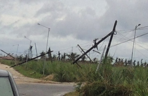 Typhoon Yolanda - Damaged electrical infrastructure in northern Cebu