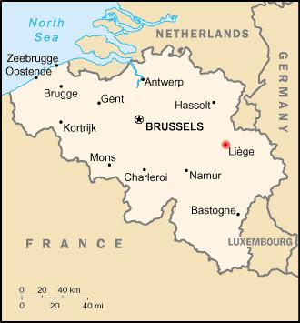 Map location of Liège, Belgium