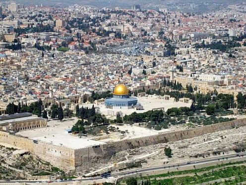 """Gold topped """"Dome of the Rock"""" located on the """"Temple Mount"""". Old Jerusalem or Mount  Moriah in the back ground."""