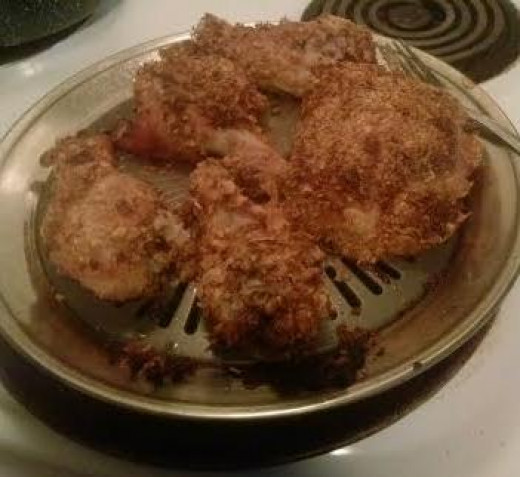 Crispy no fried chicken. I used this stove top grill in the oven. it came from the shopping network and worked great!