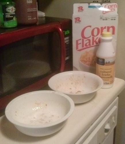 Here are 2 bowls for my wet and dry ingredients. I used a flat glass baking pan for my cornflakes. Although a bowl works great.