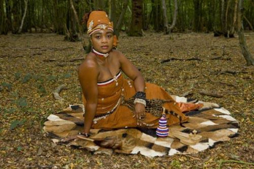 Lady Dressed up in Indigenous Clothing