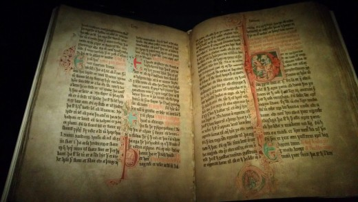 A viking era book containing Norse sagas.