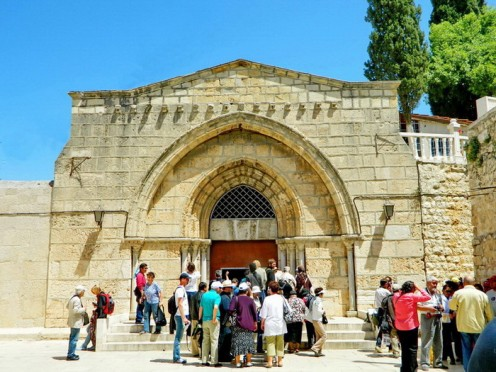 Entrance to the tomb of Mother Mary in Kidron Valley
