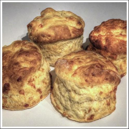 Golden yellow cheese scones.