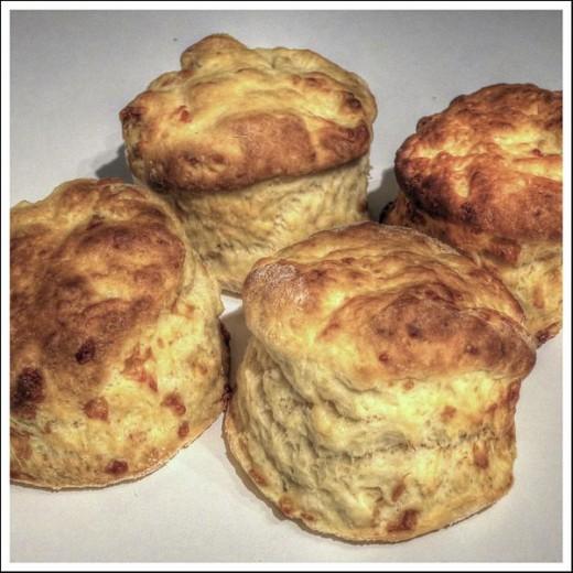 Golden yellow cheese scones.