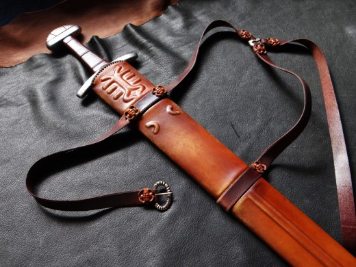 a replica Manx Viking sword scabbard worked in leather