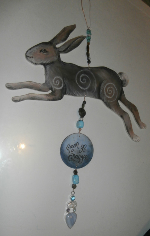 "This is one of my shorter hangers. The hare is around 8"" long so it still has visual appeal."