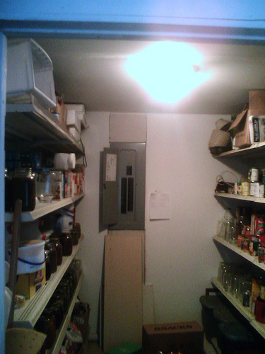 This was our pantry, filled with jars of canned goods.