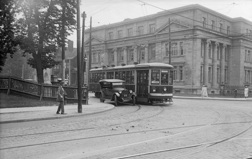 Toronto Transit Co. car No. 2754 (Bay), corner of Bloor Street and Avenue Road. The Lillian Massey Department of Household Science (University of Toronto) in background, August 1923