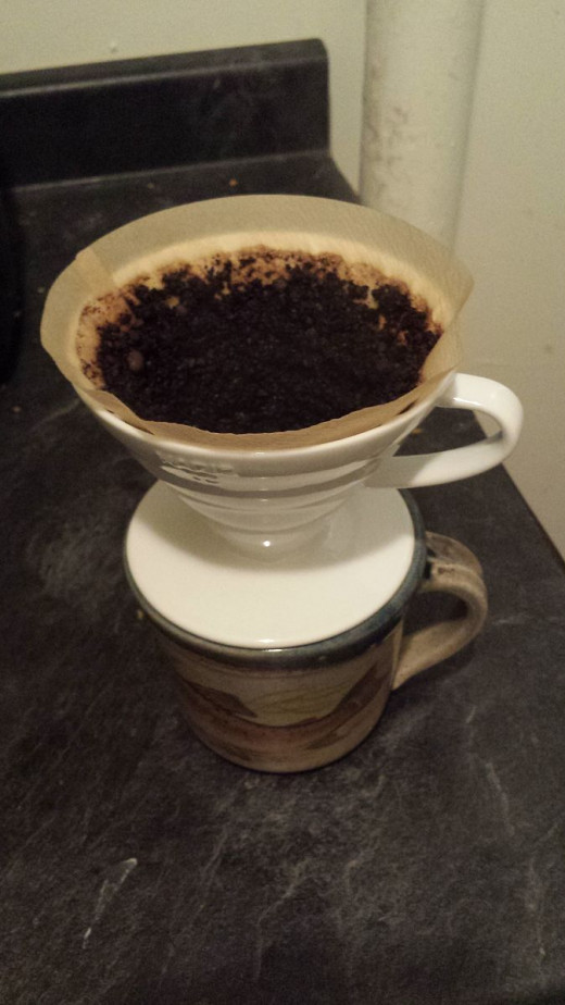 A ceramic pour over coffee system with filter.  This sits directly on top of the cup you will drink from.