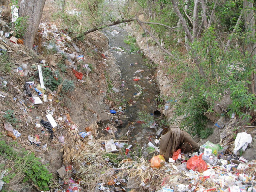 Sorry picture of rampant Garbage Dumping and Water Pollution