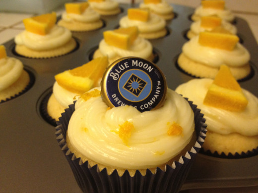 Blue Moon Cupcakes with Orange Cream Cheese Frosting